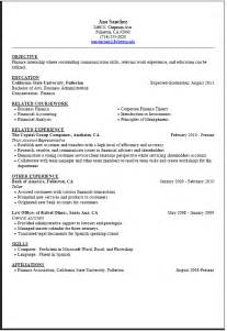 Exles Of Resumes For Internships by Career Center Internship Resume Sle