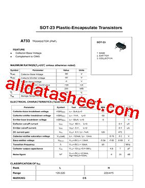 transistor a733 datasheet a733 datasheet pdf daya electric co ltd