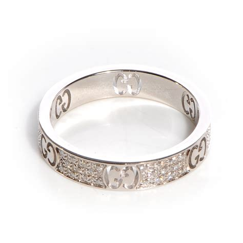 gucci 18k white gold icon stardust ring 8 69008