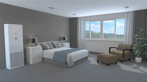 floor mounted air conditioner in a bedroom 3d animation