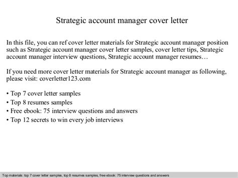 cover letter for strategic planning position strategic account manager cover letter
