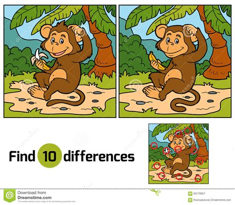find clipart for children find differences monkey stock