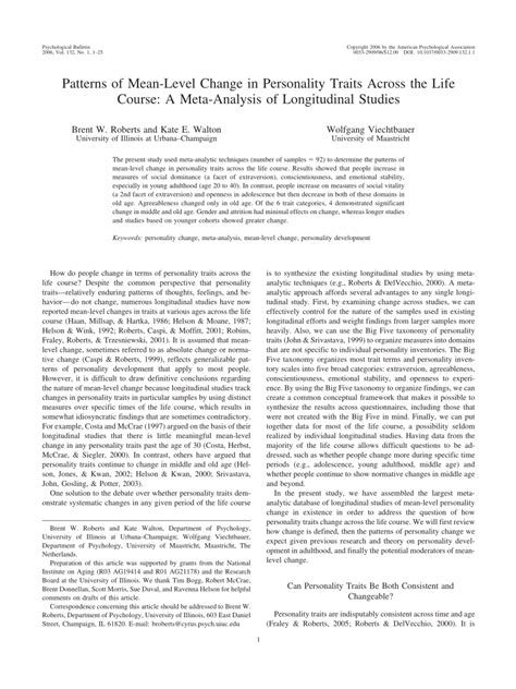 pattern change meaning patterns of mean level change in personality traits across