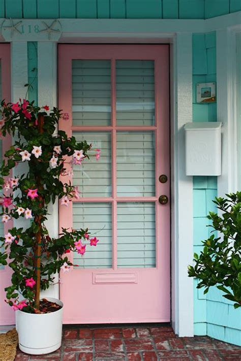 Pink Front Door 25 Eclectic Front Doors With Pastel Colors Home Design And Interior