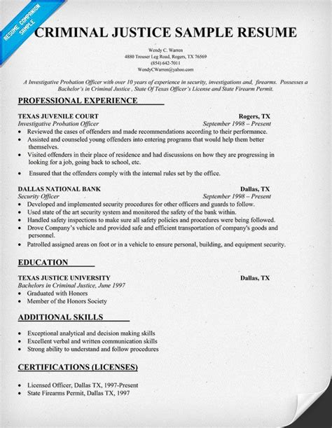 Criminal Justice Resume Objective Exles by Criminal Justice Resume Sle Resumecompanion Resume Sles Across All
