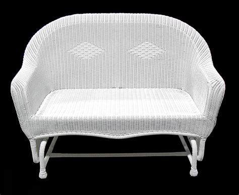 white wicker glider chair 51 quot white resin wicker glider outdoor patio chair