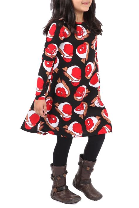 kids girls dress up christmas xmas party swing dress