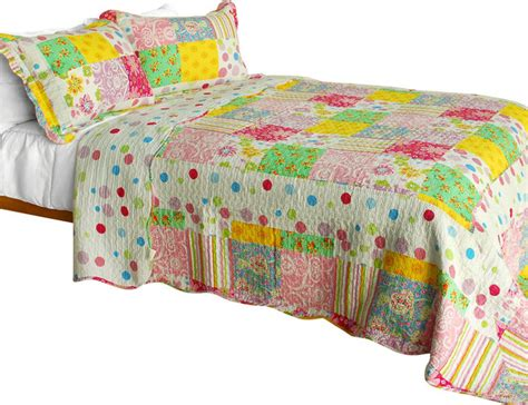 Colorful Quilt Bedding Colorful Rainbow 3pc Polka Dot Patchwork Quilt Set