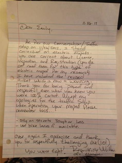 Apology Letter To Officer Apology Letter From An Officer To A Moped Rider Good Cop Free Donut