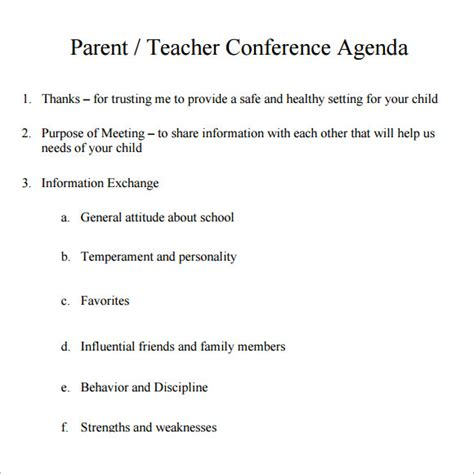 7 Sle Conference Agenda Templates To Download Sle Templates Parent Meeting Agenda Template