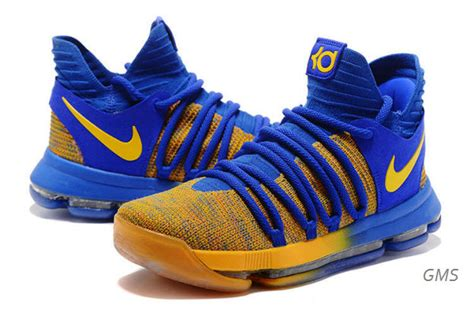 blue and yellow nike basketball shoes nike basketball shoes kevin durant 10 warriors away royal