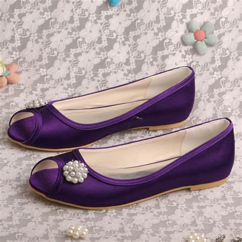 purple flat wedding shoes wedopus personalized dressy purple satin flat ballet shoes