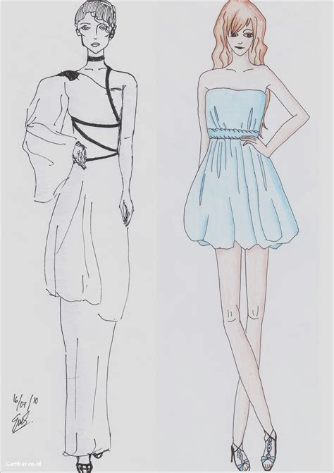 gambar desain dress pendek sketsa pemandangan yg sudah di warnai archives gambar co id