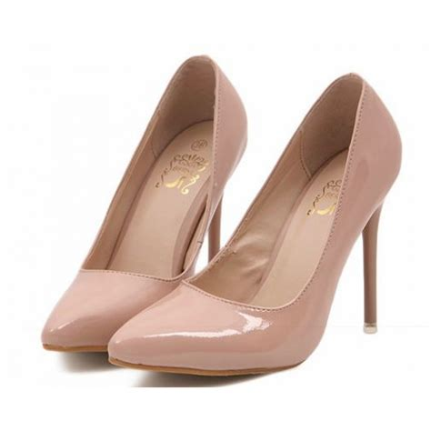 patent high heel court shoes