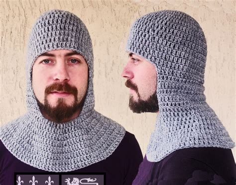 knitted chainmail pattern crochet chainmail coif grey coif helmet