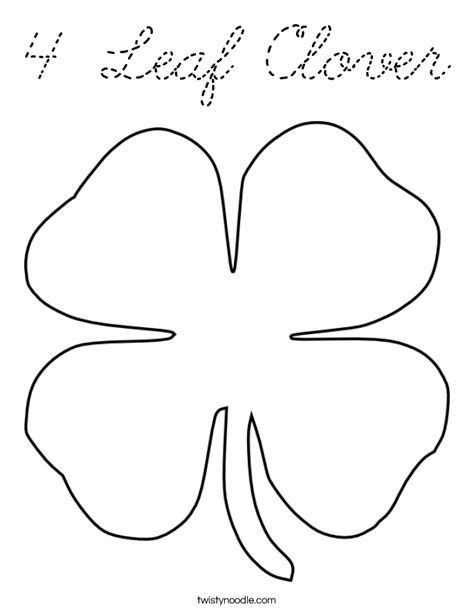 4 Leaf Clover Coloring Page Cursive Twisty Noodle Four Leaf Clover Color Page