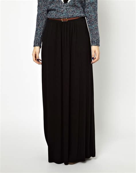 new look new look belted jersey maxi skirt at asos