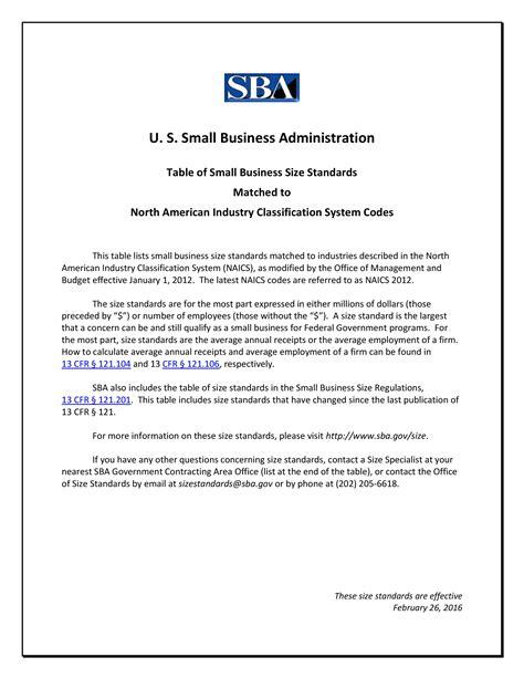 standard table size sba size standards naics association
