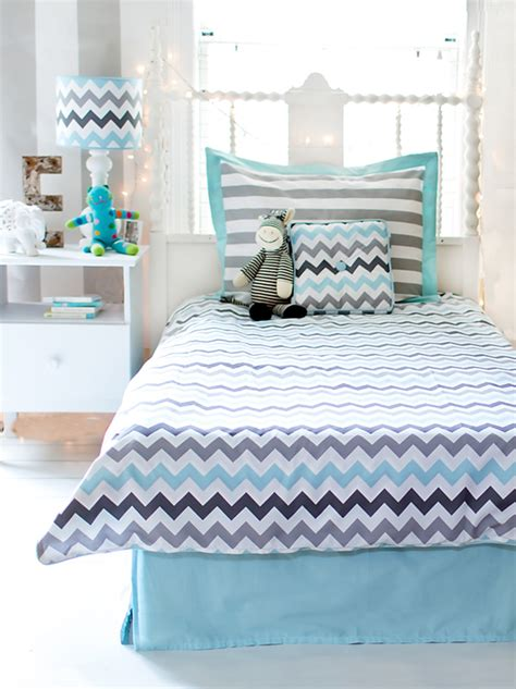 chevron bedding chevron bedding set in aqua by my baby sam