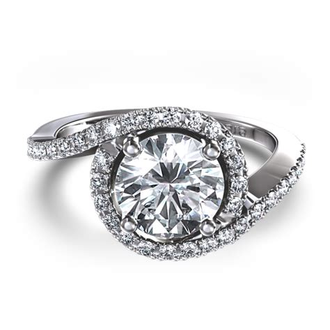 pave swirl 7 8 ctw ring in 14k white gold
