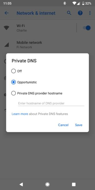 google explains  private dns setting  android p