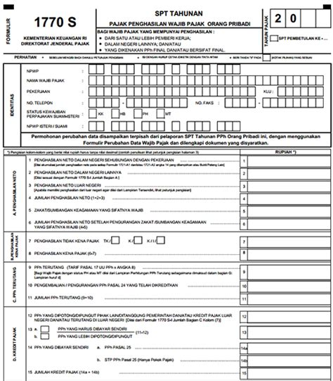 formulir spt pajak 2016 formulir pajak spt tahunan 1770 1770s 1770ss serta