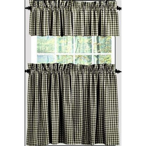 heritage house curtains heritage house check tiers 36 quot black