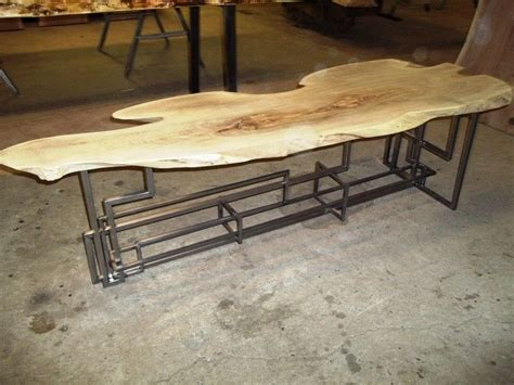 hand crafted  edge locust top  custom tigged metal base coffee table    stands