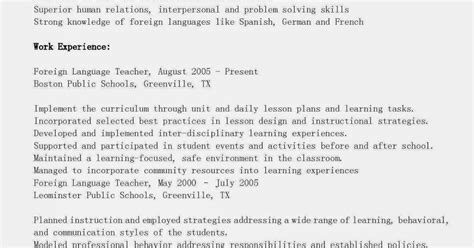 resume sles foreign language resume sle