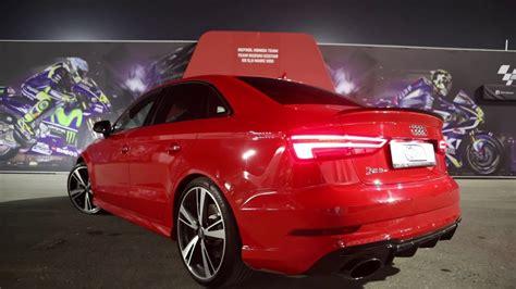 new audi rs3 2018 the new 2018 audi rs3 sedan 400hp sounds revs launch