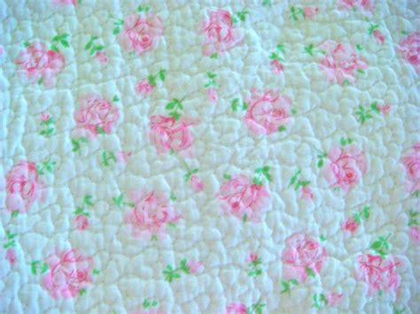 Pre Quilted Cotton Fabric by Shabby Chic Roses Pre Quilted Cotton Fabric 18 X 26 Inches