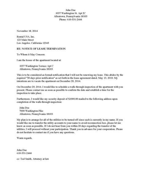 Sle Of Apartment Lease Termination Letter Divorce Source Notice Of Lease Termination Apartment