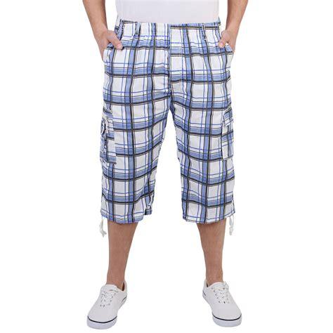 Summer Shorts by Mens Check Knee Summer Shorts Elasticated Bermuda