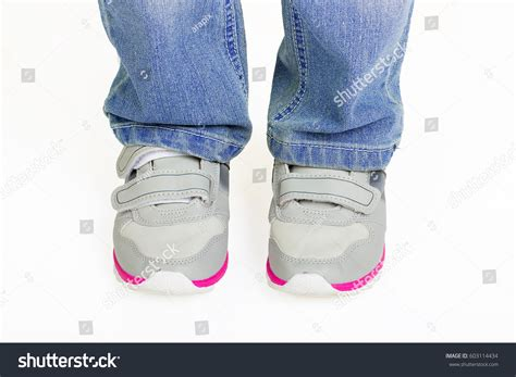 wearing shoes kid standing wearing modern sport stock photo