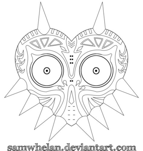 link majora s mask card template majora s mask lineart by samwhelan on deviantart