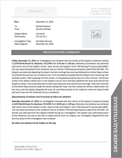 investigator report templates investigator report template document downloads