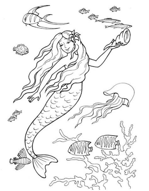 mermaids for adults coloring pages