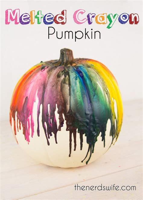 Melted crayon pumpkin an easy and fun no carve way to decorate a