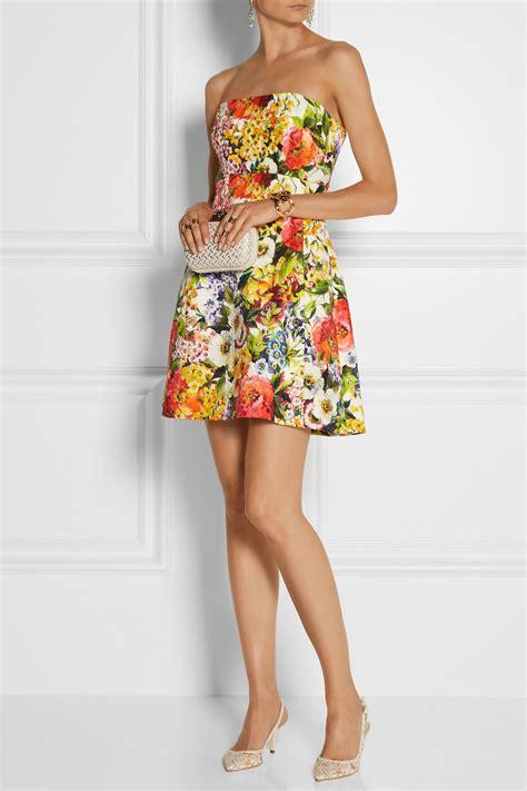 Brocade Flower Dress Mini Dress lyst dolce gabbana floral brocade mini dress in orange