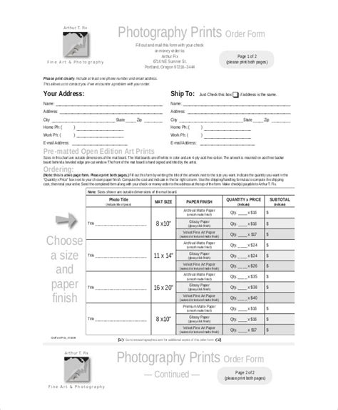 sample photography order form  examples  word