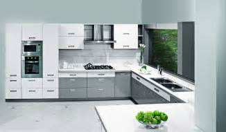 silver sleek sophisticated c shaped kitchen design