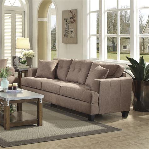 coaster samuel sofa light mocha 505171 at homelement