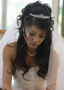Long black wedding hairstyle with tiaraelite wedding looks elite