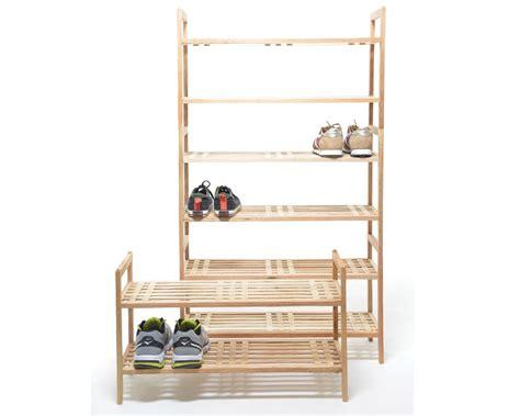 Stackable shoe rack in walnut futon company