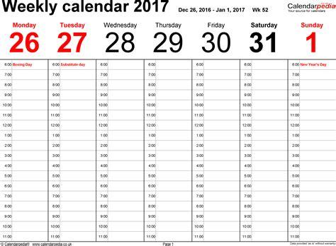 2017 Weekly Calendar Excel   calendar template excel