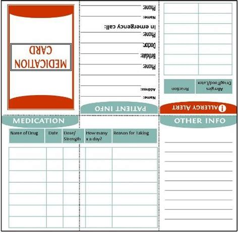 med card template fold to wallet size medication information card