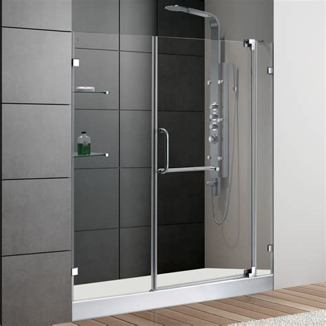 Discount Shower Doors Free Shipping Vigo 60 Inch Frameless Shower Door 3 8 Quot Clear Glass Chrome Hardware With White Base Free