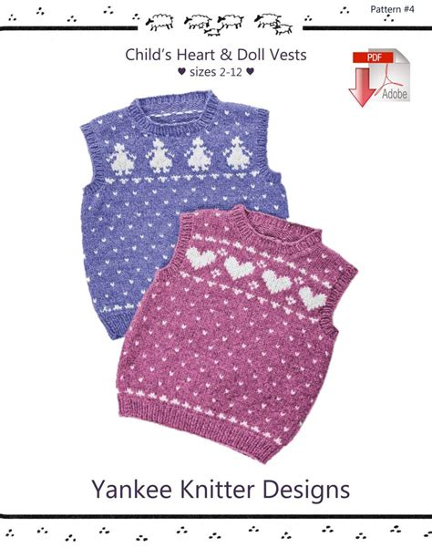 patterns for children knitting books halcyon yarn child s heart and doll vests yankee knitter pattern