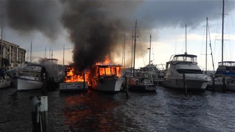 yacht fire yacht catches fire at kennedy point yacht club and marina