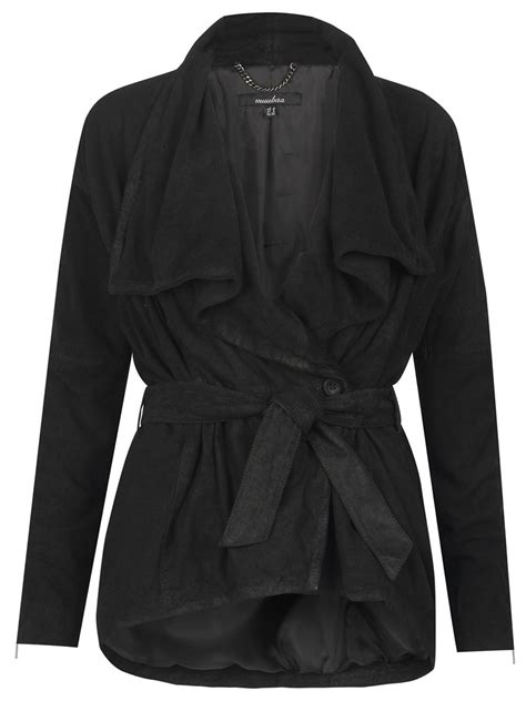drape jacket lejona leather drape jacket in black